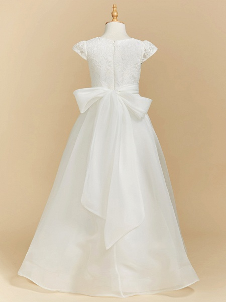 A-Line Floor Length Wedding / First Communion Flower Girl Dresses - Lace / Satin Short Sleeve Square Neck With Bow(S)_2