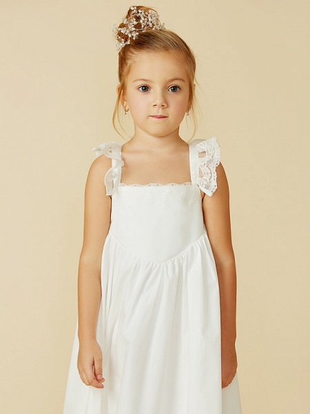 A-Line Ankle Length Wedding / First Communion Flower Girl Dresses - Lace / Cotton Sleeveless Straps With Pleats_7