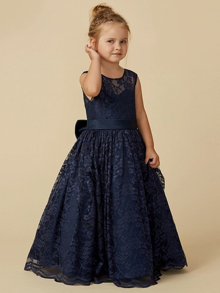 Ball Gown Floor Length Pageant Flower Girl Dresses - Lace Sleeveless Jewel Neck With Sash / Ribbon / Bow(S)_5