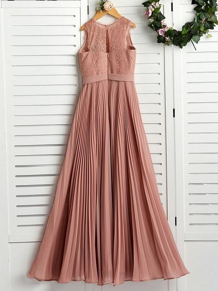 A-Line Crew Neck Maxi Chiffon / Lace Junior Bridesmaid Dress With Lace / Pleats_2
