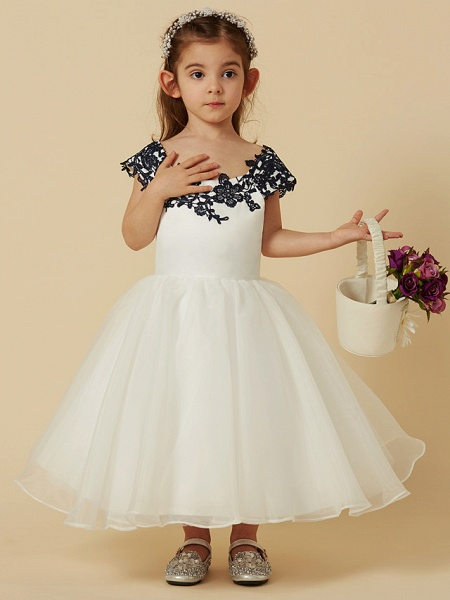 A-Line Knee Length Pageant Flower Girl Dresses - Lace / Tulle Short Sleeve Scoop Neck With Sash / Ribbon / Bow(S) / Buttons_4