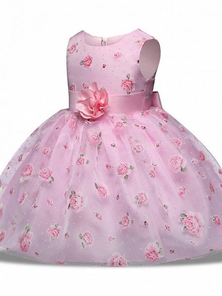 Princess Midi Wedding / Party Satin / Tulle Sleeveless Jewel Neck With Bow(S) / Tier / Pattern / Print_2
