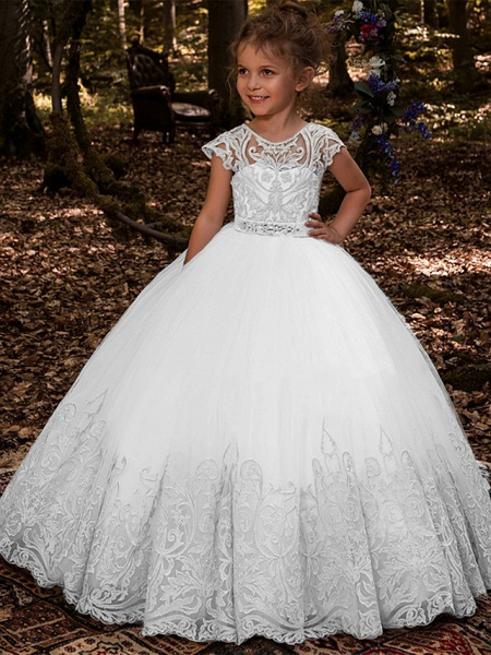 Ball Gown Sweep / Brush Train Wedding / Birthday / Pageant Flower Girl Dresses - Lace / Tulle / Cotton Short Sleeve Jewel Neck With Lace / Belt / Embroidery_3