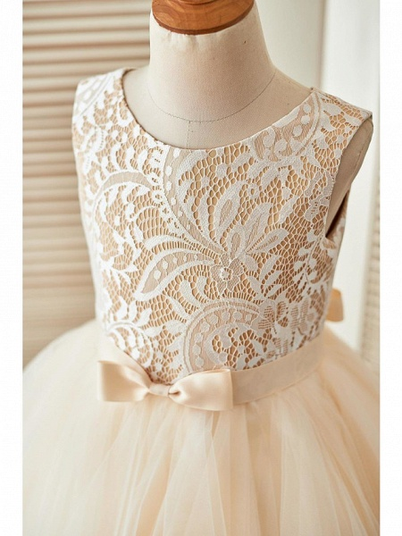 A-Line Knee Length Pageant Flower Girl Dresses - Lace / Tulle Sleeveless Scoop Neck With Sash / Ribbon_3
