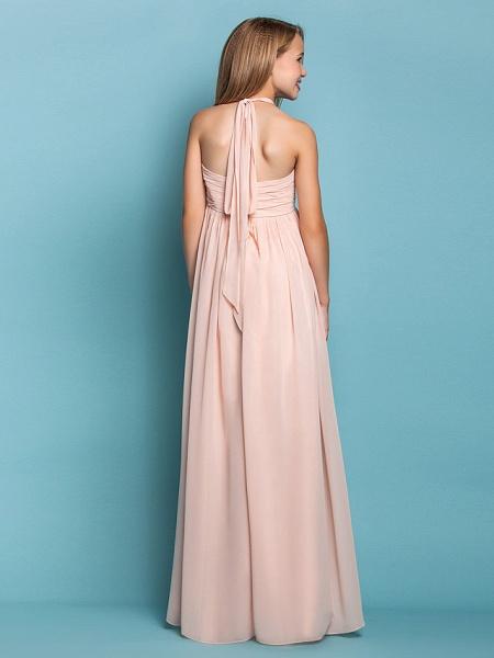 Sheath / Column Halter Neck Floor Length Chiffon Junior Bridesmaid Dress With Ruched / Spring / Summer / Fall / Apple / Hourglass_4