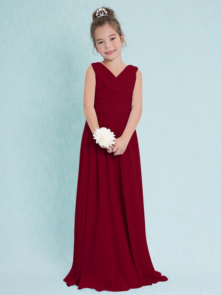 Sheath / Column V Neck Floor Length Chiffon Junior Bridesmaid Dress With Criss Cross / Ruched / Natural_14