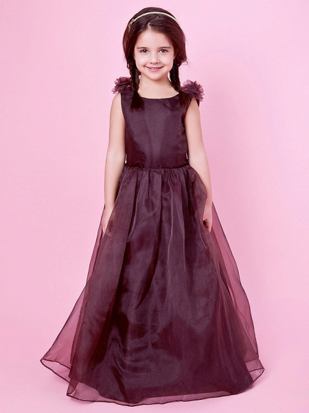 Princess / A-Line Floor Length Wedding Party Organza / Satin Sleeveless Jewel Neck With Bow(S) / Draping / Flower / Spring / Fall / Winter_1