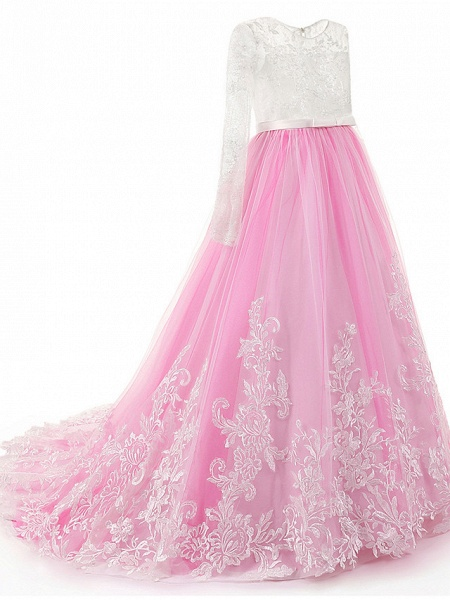 Ball Gown Sweep / Brush Train Wedding / Birthday / Pageant Flower Girl Dresses - Lace / Tulle / Cotton Long Sleeve Jewel Neck With Lace / Beading / Appliques_4