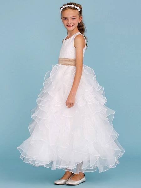 Princess / A-Line Jewel Neck Ankle Length Organza / Satin Junior Bridesmaid Dress With Sash / Ribbon / Cascading Ruffles / Wedding Party_3