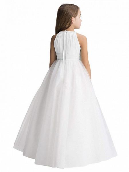 Princess Long Length Christmas / Birthday / First Communion Flower Girl Dresses - Chiffon / Organza / Tulle Sleeveless Jewel Neck With Draping_2