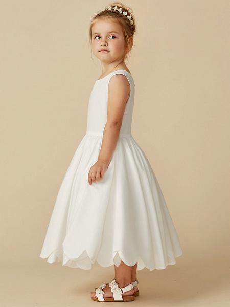 A-Line Tea Length Wedding / First Communion Flower Girl Dresses - Taffeta Sleeveless Jewel Neck With Sash / Ribbon / Pleats_9