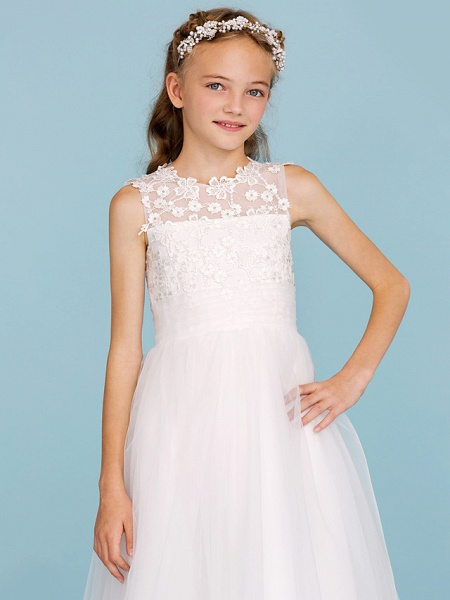Princess / A-Line Crew Neck Ankle Length Lace / Tulle Junior Bridesmaid Dress With Sash / Ribbon / Wedding Party_6