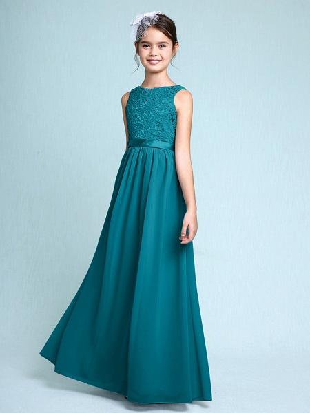 Sheath / Column Bateau Neck Floor Length Chiffon / Lace Junior Bridesmaid Dress With Lace / Natural_28