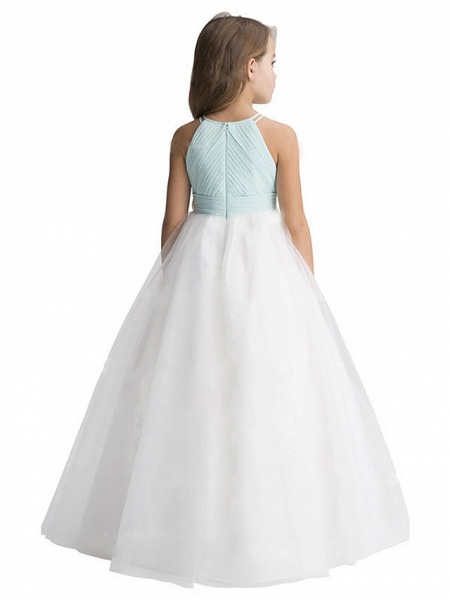 A-Line Floor Length Wedding / Party Flower Girl Dresses - Chiffon / Tulle Sleeveless Jewel Neck With Ruffles_2