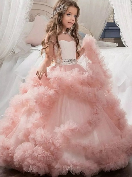 Ball Gown Sweep / Brush Train Wedding / Party Flower Girl Dresses - Tulle Sleeveless Jewel Neck With Solid / Tiered_2