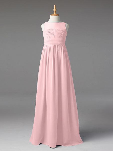 Princess / A-Line Jewel Neck Floor Length Chiffon Junior Bridesmaid Dress With Sash / Ribbon / Pleats_17