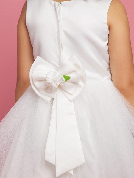 Princess / Ball Gown / A-Line Knee Length First Communion / Wedding Party Lace / Organza / Satin Sleeveless Scoop Neck With Bow(S) / Draping / Flower / Spring / Summer / Fall_7