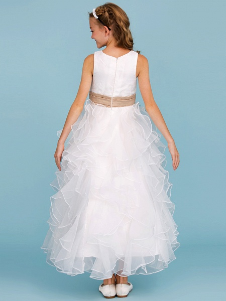 Princess / A-Line Jewel Neck Ankle Length Organza / Satin Junior Bridesmaid Dress With Sash / Ribbon / Cascading Ruffles / Wedding Party_2