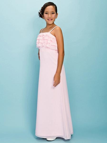 A-Line / Sheath / Column Spaghetti Strap Floor Length Chiffon Junior Bridesmaid Dress With Pleats / Ruffles / Spring / Fall / Winter / Apple / Hourglass_3