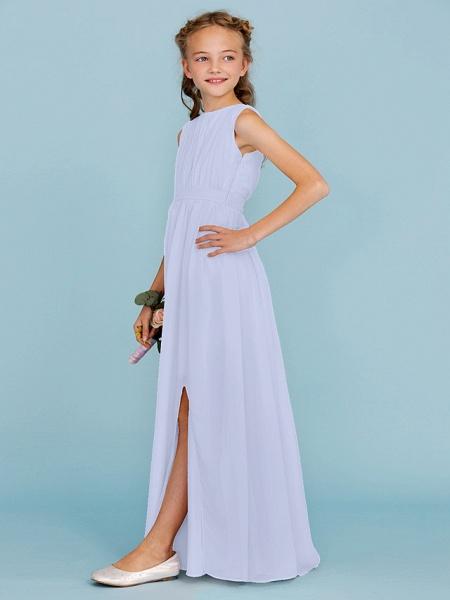 Sheath / Column Crew Neck Floor Length Chiffon Junior Bridesmaid Dress With Sash / Ribbon / Draping / Split Front / Wedding Party / Furcal_48