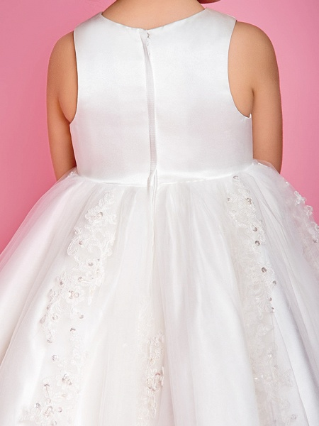 Princess / A-Line Tea Length Wedding / First Communion Flower Girl Dresses - Satin / Tulle Sleeveless Jewel Neck With Beading / Appliques / Spring / Summer / Fall / Winter_7