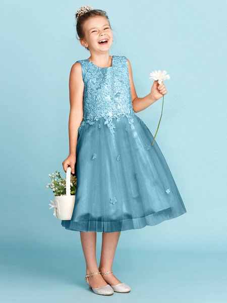 Princess / A-Line Jewel Neck Knee Length Lace / Tulle Junior Bridesmaid Dress With Bow(S) / Appliques / Wedding Party_46