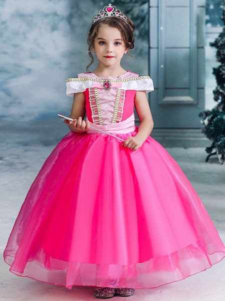 Ball Gown Floor Length Wedding / Party Flower Girl Dresses - Tulle Sleeveless Jewel Neck With Solid_7