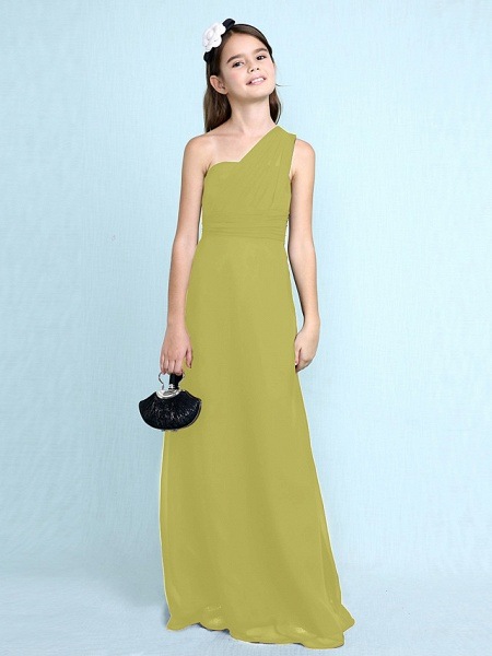 Sheath / Column One Shoulder Floor Length Chiffon Junior Bridesmaid Dress With Side Draping / Natural_21