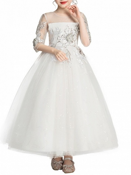 Ball Gown Ankle Length Pageant Flower Girl Dresses - Polyester Half Sleeve Jewel Neck With Bow(S)_4
