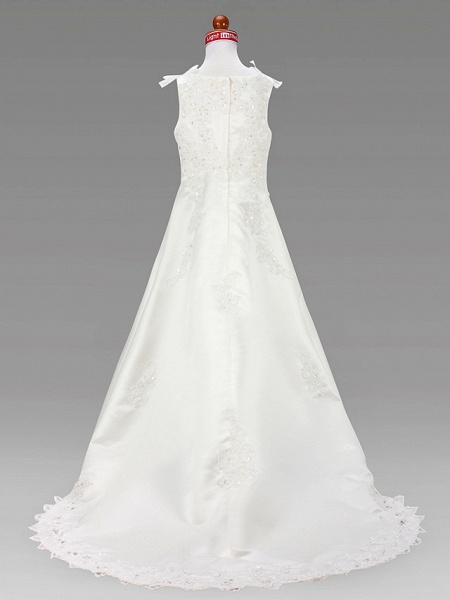 A-Line Court Train / Sweep / Brush Train Wedding / First Communion Flower Girl Dresses - Satin Sleeveless Jewel Neck With Beading / Spring / Summer / Fall / Winter_4