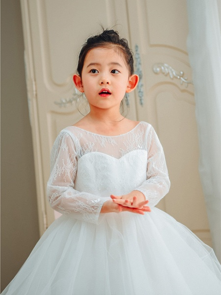 Ball Gown Floor Length Wedding / First Communion / Birthday Flower Girl Dresses - Lace / Tulle Long Sleeve Boat Neck With Bows / Belt_3