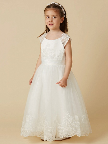A-Line Floor Length Wedding / First Communion Flower Girl Dresses - Lace / Tulle Short Sleeve Scoop Neck With Sash / Ribbon / Buttons_3