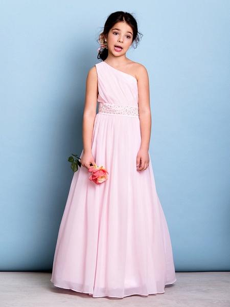 A-Line One Shoulder Floor Length Chiffon Junior Bridesmaid Dress With Sash / Ribbon / Beading / Side Draping / Natural_3