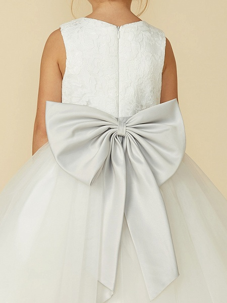 A-Line Tea Length Wedding / First Communion Flower Girl Dresses - Lace / Tulle Sleeveless Jewel Neck With Lace / Sash / Ribbon_8
