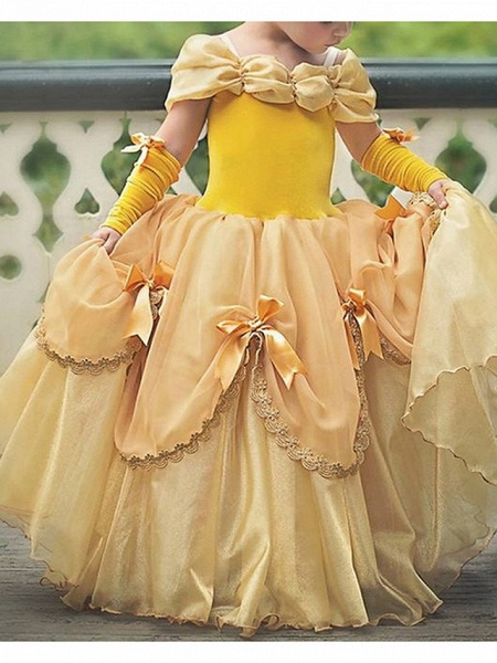 Ball Gown Floor Length Pageant Flower Girl Dresses - Polyester Short Sleeve Off Shoulder With Bow(S)_1