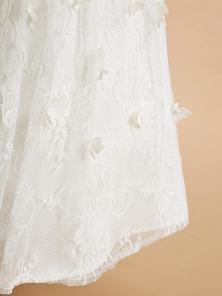 A-Line Tea Length Wedding / First Communion Flower Girl Dresses - Lace Sleeveless Jewel Neck With Flower_7