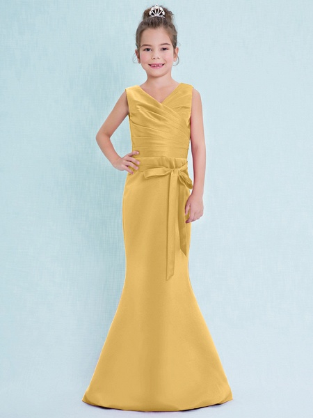 Mermaid / Trumpet V Neck Floor Length Satin Junior Bridesmaid Dress With Criss Cross / Natural_23