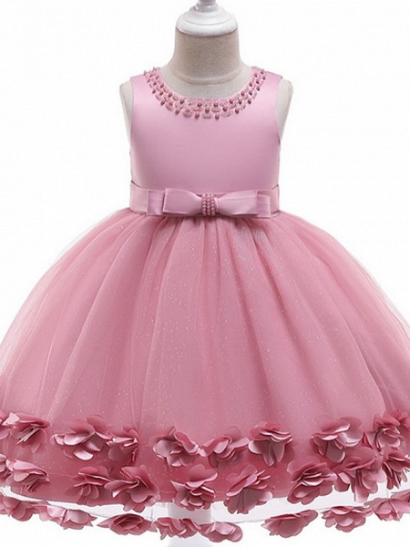 Princess / Ball Gown Knee Length Wedding / Party Flower Girl Dresses - Tulle / Satin Chiffon Sleeveless Jewel Neck With Bow(S) / Beading / Appliques_3