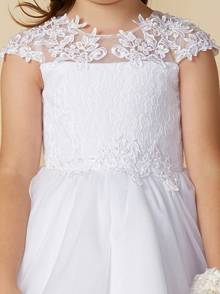 Ball Gown Ankle Length Wedding / First Communion Flower Girl Dresses - Lace / Tulle Short Sleeve Jewel Neck With Beading / Appliques_5