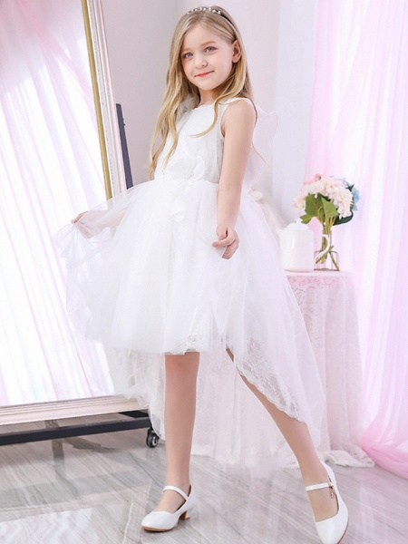 Princess / Ball Gown Sweep / Brush Train / Royal Length Train Wedding / Event / Party Flower Girl Dresses - Lace / Satin / Tulle Sleeveless Jewel Neck With Lace / Cascading Ruffles / Flower_4