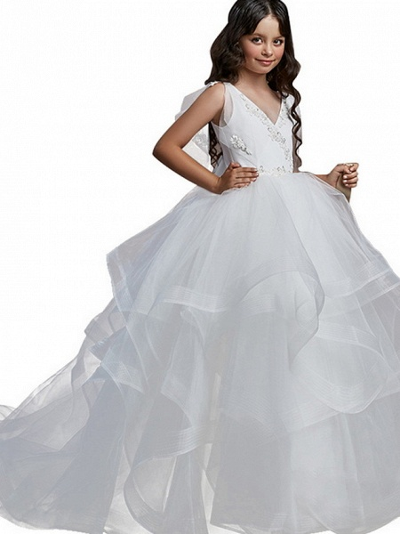 Ball Gown Floor Length Party / Birthday Flower Girl Dresses - Poly Sleeveless V Neck With Embroidery / Solid / Tiered_3