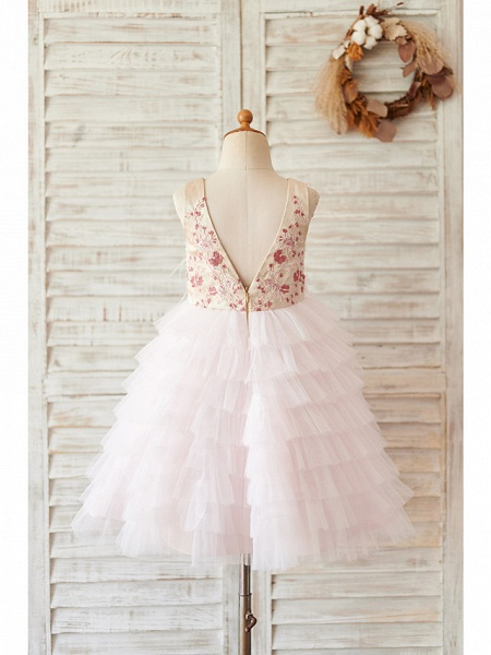 Ball Gown Knee Length Wedding / Birthday Flower Girl Dresses - Satin / Tulle Sleeveless Jewel Neck With Feathers / Fur / Beading / Embroidery_2