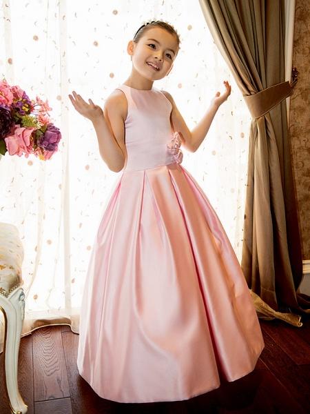 Princess / A-Line Floor Length First Communion Flower Girl Dresses - Satin Sleeveless Jewel Neck With Sash / Ribbon / Flower_1