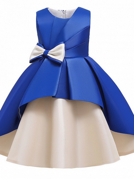 Princess / A-Line Knee Length Wedding / Party Flower Girl Dresses - Mikado Sleeveless Jewel Neck With Bow(S) / Tiered_12