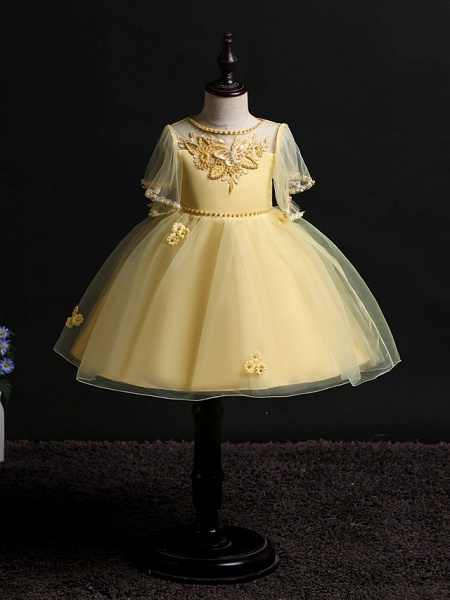 Princess Midi Wedding / Birthday Satin / Tulle Sleeveless Jewel Neck With Bow(S) / Pearls / Beading_6