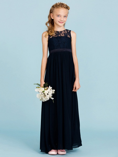 Princess / A-Line Crew Neck Floor Length Chiffon / Lace Junior Bridesmaid Dress With Sash / Ribbon / Pleats / Wedding Party / Open Back / See Through_5