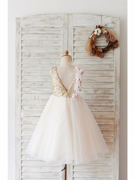 Ball Gown Knee Length Wedding / Birthday Flower Girl Dresses - Tulle / Sequined Sleeveless Jewel Neck With Feathers / Fur / Flower_2