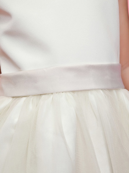 Ball Gown / A-Line Ankle Length Wedding / First Communion Flower Girl Dresses - Satin / Tulle Sleeveless Jewel Neck With Sash / Ribbon / Bow(S) / Spring / Summer / Fall / Winter_5
