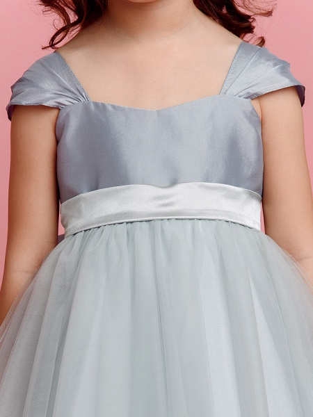 Ball Gown Floor Length Pageant Flower Girl Dresses - Taffeta / Tulle Short Sleeve Square Neck With Sash / Ribbon / Bow(S) / Spring / Summer / Fall_7