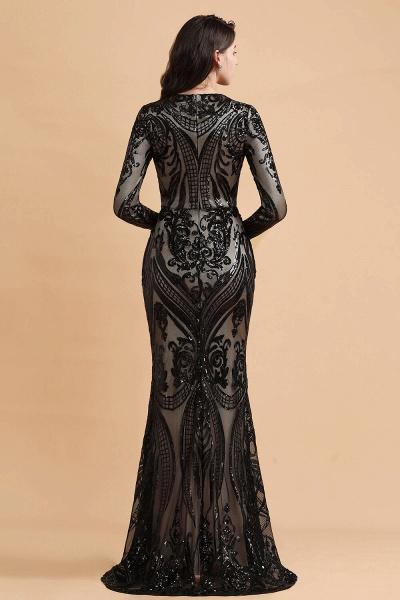 Luxury Black Round neck Sequined Detachable Overskirt Prom Dress_3